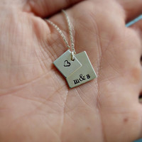 Couples Necklace Sterling Silver Square 2 Layer Name Necklace Bridal Gift Best Friends Gift Girlfriend Gift