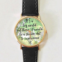 Travel Quotes Watch, Women Watches,  Leather Watch, Men's Watch,  Boyfriend Watch, Ladies Watch, Silver Gold Rose Watch, Unique, Gift,