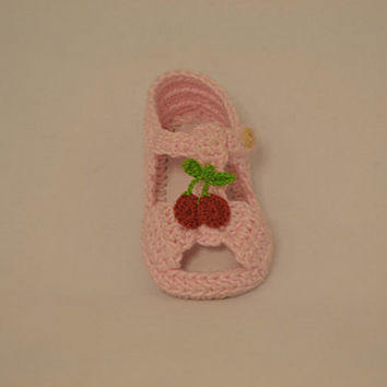 Open toe crochet Maryjane sandals with cherry and leather soles.