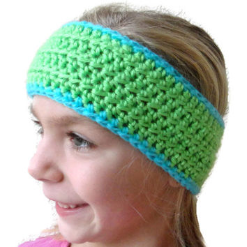 Child Earwarmer Headband Crochet Green Blue