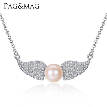 PAG&MAG Angel Wings Shape Sterling Silver Pendant Necklace with 9-9.5mm Flat Bead Natural Freshwater Pearl Necklace for Women