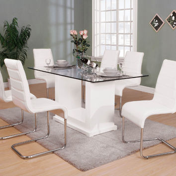 Furniture of america CM3917T-8371WH-7PC 7 pc Eva white finish wood base beveled glass top dining table set