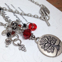 Tree of Life Red Necklace,Tree Art Necklace,Red Tree Necklace,Red Tree of Life Necklace,Tree of Life Necklace,Tree Charm, Red Tree Art