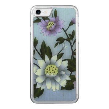pretty purple and white flowers iphone6 carved iPhone 7 case