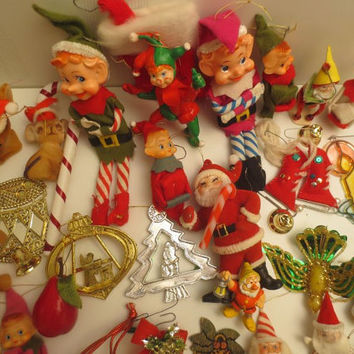 Mid Century Elves / 60s Pixies / Vintage Christmas Ornaments / Santa / Snoopy / Wooden / Plastic / Lot of 33 +
