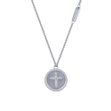 Lafonn Rhonda Faber Green Sterling Silver Platinum Plated Lassire Simulated Diamond Necklace (0.49 CTTW)