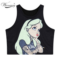 Harajuku women's cute cartoon ariel Mermaid print AA style Bustier Crop Top high waist fitness t-shirt cotton blouse top TS-079