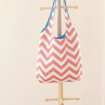 Coral Chevron Tote, Coral Chevron Tote Bag, Small Slouchy Bag, Chevron Bag, Chevron Purse