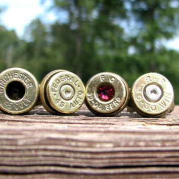 Bullet Jewelry- Bullet Ring- Birthstone Ring- Eco Friendly Gift- Ammo Ring- Ammo Jewelry- Redneck- Country Girl- Everyday- Simple- Rustic