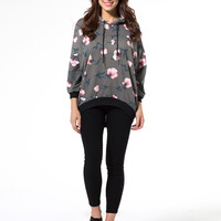 Gray Drop Shoulder Floral Dipped Back Oversized Hoodie