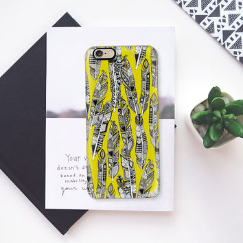 geo feathers chartreuse iPhone 6s case by Sharon Turner | Casetify