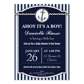 Ahoy It's A Boy Anchor Baby Shower Invitation