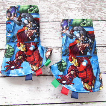 Marvel Avengers Corner Suck Pads - Tula Accessories - Reversible Drool Pads - Suck Pads - Ready to Ship