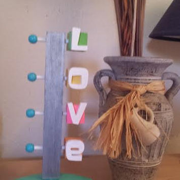 Wooden Love Sign- Table/Shelf Decor Art- Made of Vintage Kids Blocks and recycled wood in the Googie Art Style