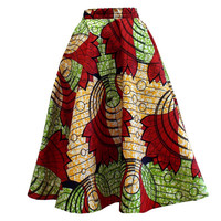 Ivie African Print Midi Circle Skirt (Red/Green/Orange)