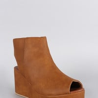 Qupid Peep Toe Mule Wedge