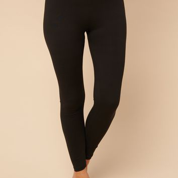 Waiting For The Weekend High Waisted Basic Leggings (Black)