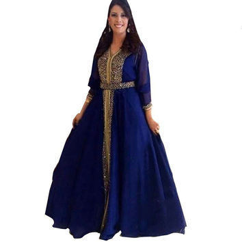 Custom Made 2016 Evening Dresses Muslim Prom Dresses Beaded Long Sleeve Blue Arabic Evening Gowns Islamic