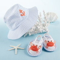 "Baby Aspen BA14025BL ""Coastal Cutie"" Sun Hat and Spa Booties Gift Set (Boy)"