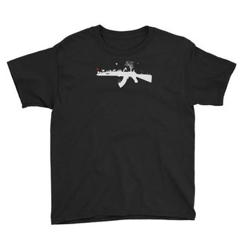 banksy style ak47 art   funny Youth Tee