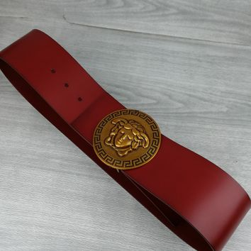 Versace Tide brand fashion retro light luxury smooth buckle belt red