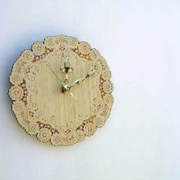 bamboo doily clock by uncommon on Etsy