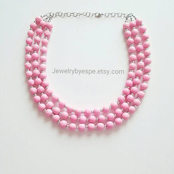 Pastel Pink Statement Necklace/Silver Layered Necklace/Pink Beaded Necklace