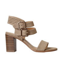 Taupe Suede Strappy Perforated Heels-FINAL SALE