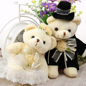 Kawaii 1Pair NEW Wedding Gift Bride & Groom Bear Bouquet DOLL TOY ; Plush Stuffed TOY Size12*6CM Soft Figure DOLL TOY