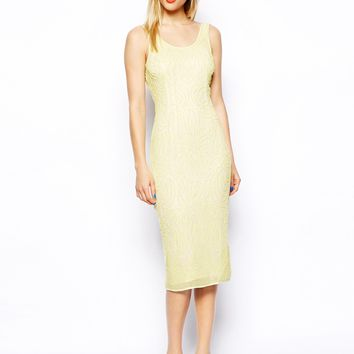 ASOS SALON Beautiful Embellished Body-Conscious Midi Dress - Pale yell