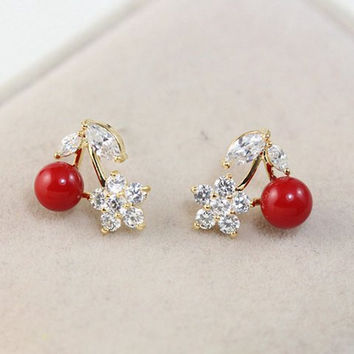 Rhinestone Floral Cherry Earrings