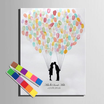 Fingerprint Signature Canvas Painting Loving Balloon Wedding Gift Wedding Decoration Guest Book (Include 12Ink Colors)