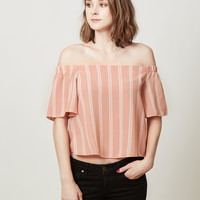 LE3NO Womens Lightweight Flowy Striped Off Shoulder Boat Neck Crop Top
