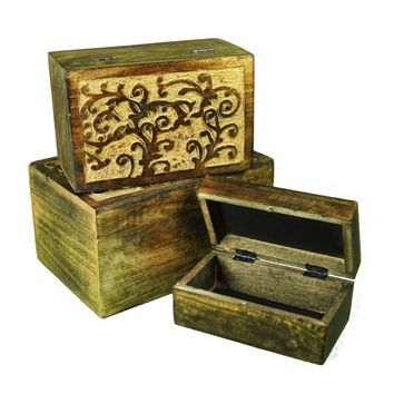 Beautifully Carved Wooden Jewelry Box, Set Of 3, Brown By Benzara