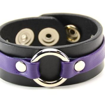 "Purple on Black Strip w/ O-Ring Leather Wristband Bracelet Cuff 1-1/4"" Wide"