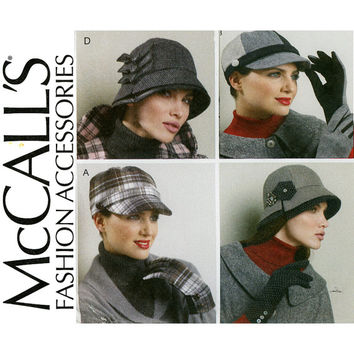 Retro Style Hats and Gloves Pattern UNCUT McCalls M6450 Brimmed Cloche or Visor Caps Driving Gloves Womens Millinery Sewing Patterns