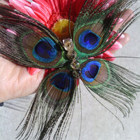 Peacock, Butterfly, Hair Clip, wedding, flower girl, bridal hair, head piece, bridesmaid, child, fascinator, butterfly