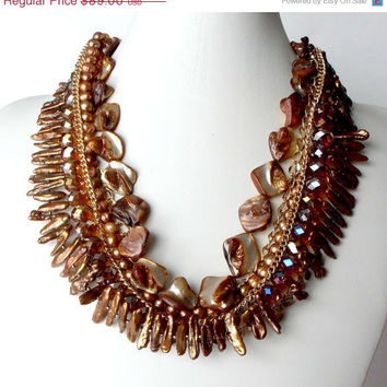 Beaded Statement Necklace Brown