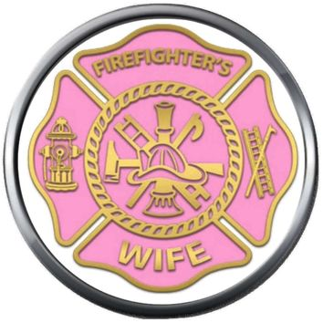 Pink Shield Firefighters Wife Thin Red Line Heart Maltese Cross Proud Protect Serve  18MM-20MM Snap Charm New Item