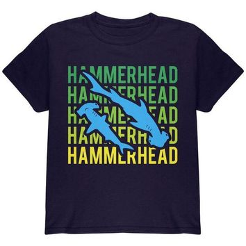 LMFCY8 Hammerhead Shark Stacked Repeat Youth T Shirt
