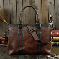 Mens Leather Crossbody Briefcase Handbag