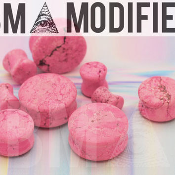2g (6mm) Acid Wash Pink Stone BMA Modified Plugs Pair