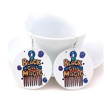 Afro Pick Wooden Earrings