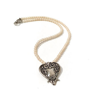 Sterling  Repousse Heart Necklace, Art Nouveau Style Pendant, Faux Pearl Single Strand, Foree Sterling, Bridal Wedding Jewelry Vintage