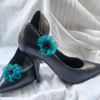Peacock green shoe clips with organza ribbon flower and black rose detail