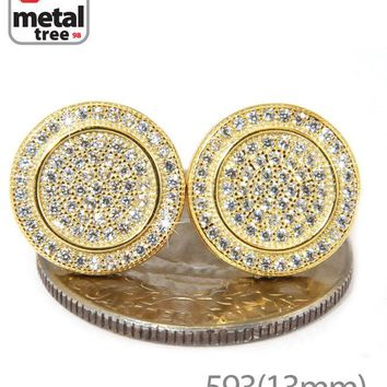 Jewelry Kay style Men's Hip Hop Iced Out Large Round Circle Flat Screw Back Stud Earrings 593