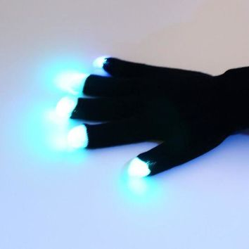 CREY6F Flashing Fingertip Light 7 Mode LED Gloves Mittens Costumes Rave Party Skating Riding  Hot Sale