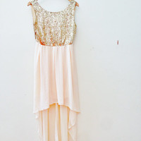 Sequin gold peach high-low prom dress
