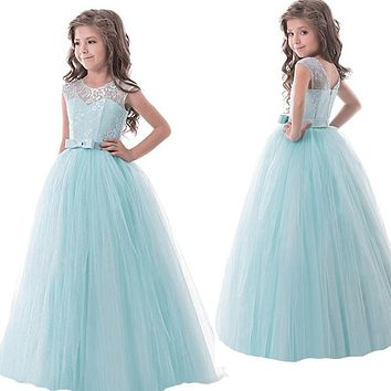 Flower Lace Girl Dress Frock For Wedding Girl Long Evening Gown Children Designs Girl Kids Party Wear Teenager Maxi Tutu Dresses