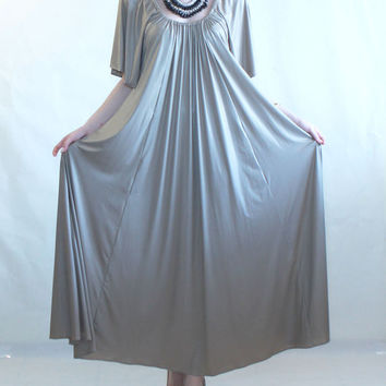 Maxi flare dress, prom dress, party dress, oversize dress, plus size, maternity prom dress, gold dress, dark gray dress